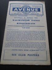 Football Programme - Walthamstow Avenue v Kingstonians 4/3/1961