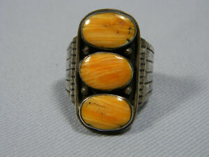 Navajo Spiny Oyster Turquoise Ring Signed JD size 11.5