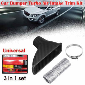 Car Bumper Turbo Air Intake Trim Kit Grille Mount Pipe Funnel Clamp Carbon Style