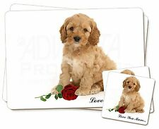 Cockerpoodle+Rose 'Love You Mum' Twin 2x Placemats+2x Coasters Set, AD-CP6RlymPC