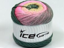 2 PELOTES DE LAINE ICE YARNS CAKES CHAIN GRIS CLAIR ROSE CREME