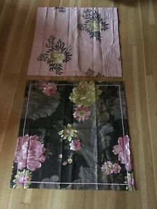 Pair/Set of 2 Designers Guild Floral Flower Pink Black Euro Sham Cotton Sateen