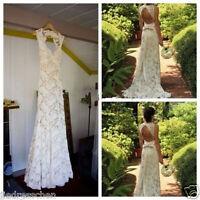 Lace Long Sleeve V-Neck Wedding Dress Formal Sheath Bridal Gown Back Open Custom
