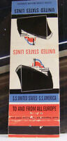 Rare Vintage Matchbook Cover R3 United States Lines SS America Boat Ship to Euro