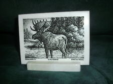 Montana Marble Decorative Plaque Desk Accessory Cultured Etched Moose 8016