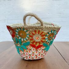 Small Embroidered Red Blue Gold Basket, Mini French Market Beach Storage Bag