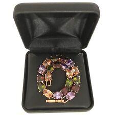 Classic Citrus Ruby Emerald Gemstone Beaded Bracelet Yellow Gold Plated Jewelry