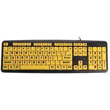 Large Print USB Elderly Computer Keyboard High Contrast Yellow Keys Black Letter