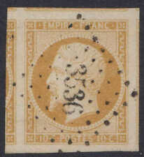 1853, 10 C Bistre-Jaune y&t/MAURY #13, 4 grandes marges, signé.