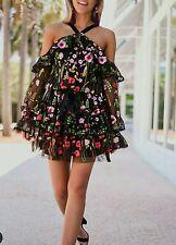 New Garden lace ALEXI style floral Adeline off-shoulder black dress SZ M