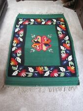 """GORGEOUS Vintage Hand Woven WOOL Colorful MEXICAN Blanket 82"""" x 53"""" WALL HANGING"""
