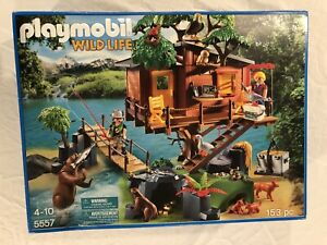 Playmobil Wildlife ADVENTURE TREE HOUSE #5557 Forest Animals Bridge Fish Bear