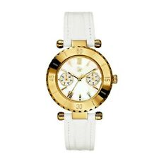 New Authentic Guess  GC Women's Gold tone and White Leather Band Watch I25039L1S