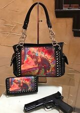 NWT Western Montana West Horse Art Concealed Handgun Handbag Set Black