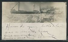 MI Marine City RPPC 5/10/1901 SHIP SS CRANCS. CAUGHT in ICE JAM St. Clair River