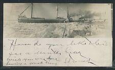 MI Marine City RPPC 5/10/1901 SHIP SS CRANCS. CAUGHT in ICE JAM St. Clair River