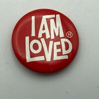 "Vintage I Am Loved 1"" Button Pin Pinback Helzberg Foundation Q3"