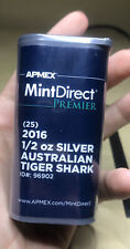 Apmex Royal Mint Sealed Tube Of (25) 1/2 Silver Oz Australian Tiger Shark Rounds