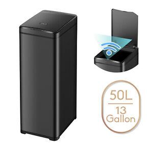 13 Gallon Slim Trash Can Black Steel Touchless Motion Sensor Soft Close Lid 50L