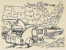 Travel Trailer USA Map Wood Mounted Rubber Stamp STAMPENDOUS R225 New