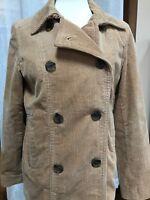 GAP Women's Corduroy Jacket Pea Coat Pea Coat Camel Sz Medium Double Breasted