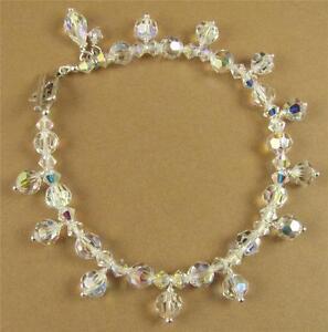 Aurora borealis crystal bracelet made with swarovski elements & sterling silver