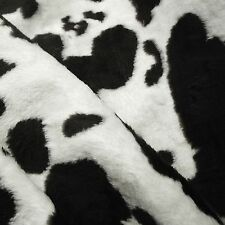 Black & White Cow Print Medium Pile Faux Fur Fabric (Per Metre)