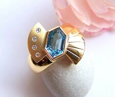Ring GG  750  Aquamarin Fantasie 1,48 ct  Brillanten Weite 57 Unikat