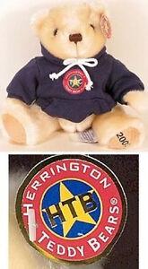 "Herrington Teddy Bear Club TBC 2002 MEMBER 9"" Plush with Navy Blue Hoodie Jacket"