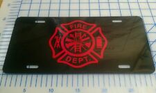 Fire Dept license plate/tag (two colors to choose from)