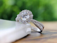1CT Halo Pave Diamond Engagement Wedding Anniversary Ring 14K White Gold Over