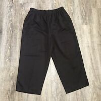 Hillard & Hanson Women's Capri Pants ~ Sz 10 ~ Brown ~ Elastic Waist ~ High Rise