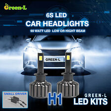 H1 90W 9800LM Super White CREE COB Led Headlight Kit Hi or Low Beam Bulb Lights