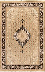 Geometric Traditional Oriental Area Rug Wool Silk Hand-knotted Vegetable Dye 5x8