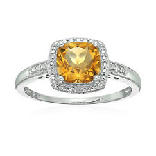 Sterling Silver Cushion Citrine and Diamond Ring, Size 7