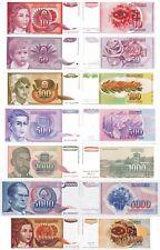 YUGOSLAVIA - Lotto 7 banconote 10/50/100/500/1000/5000/10000 dinara FDS UNC