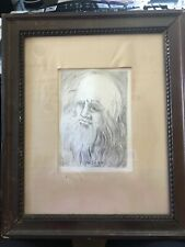 Framed etching of Leonardo Da Vinci by Salvador Dali hand signed COA