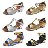 Ballroom heeled Salsa tango latin dance shoes children girls women kidsSize24-41