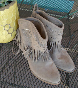 FAUX LEATHER Beaded FRINGE Booties * NOT RATED * Short Brown Boho Boots Sz 7
