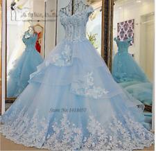 Light Blue Wedding Dresses Ball Gown Vestido de Noiva Princesa Custom Size 4-28+