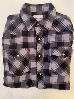 Large Wrangler Gray Black Snap Up Men's Shirts Flannel Plaid Long Sleeve