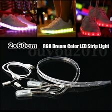 2x 60CM USB Charging Battery Powered RGB LED Strip Light For shoes Clothes Party