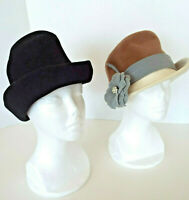 2 Vintage Wool Hats Black Merrimac NY Creation Patrice Grey Tan Derby Estate Lot