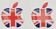 2 X 3D abovedado bandera UK/adhesivos con el logotipo de Apple para iPhone, iPad Cubierta. tamaño 35x30mm