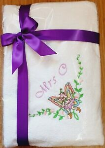 Name with Fairy Personalised Embroidered towels Christmas Baby Birthday present
