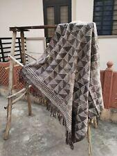 Handmade Brown Throw Blanket Indian Floral Printed Mud Cloth Boho Decor Room Art