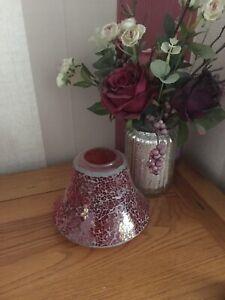 Fab Yankee Candle Large Red Mosaic Jar Topper Lantern Lid