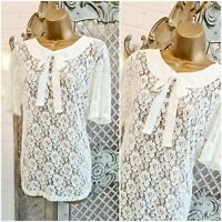 GEORGE UK 16 Sheer Ivory Floral Peter Pan Bow Lace Blouse Top Lolita Steampunk