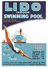 VINTAGE POSTER  BLACKPOOL Lido Swimming Pool ART Deco Advertising PRINT A3 A4