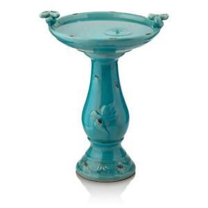 Tall Outdoor Ceramic Antique Pedestal Birdbath 2 Bird Figurines Turquoise 24in.